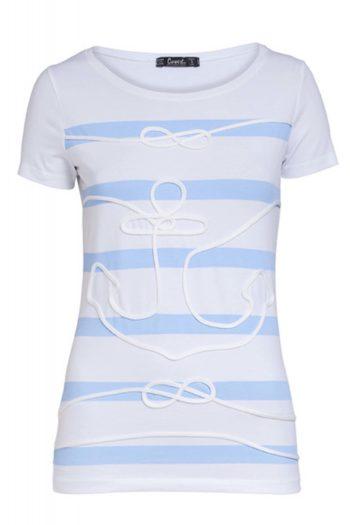 camiseta de algodon blanca y azul